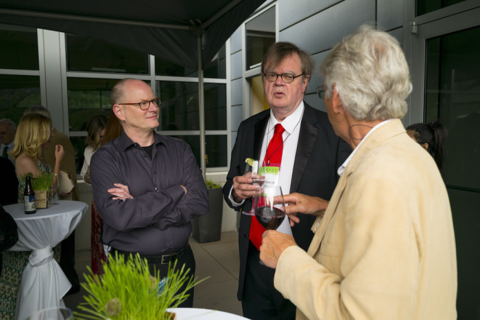 Mark Tompkins with Garrison Keillor at Summer Words 2015