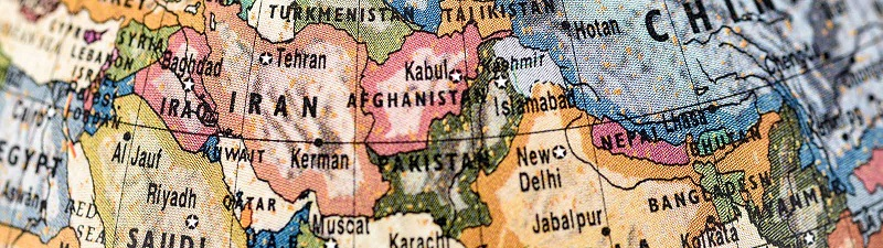 Close-up of Afghanistan in the colorful world map.